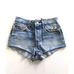 NEW Levi's 501 high rise super short denim shorts
